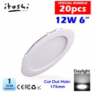 20pcs LED Ceiling Light 12W 6 Inch Round Daylight